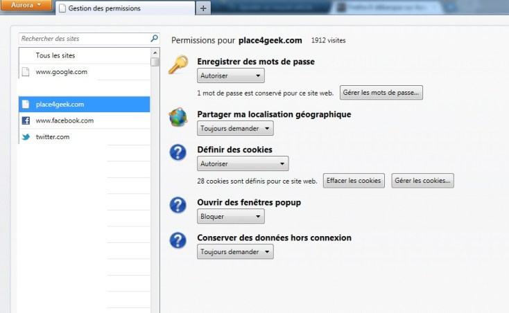 Firefox 6 Gestion des permissions