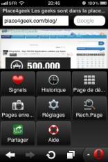 Le bouton Opera sur Opera mini 6.0