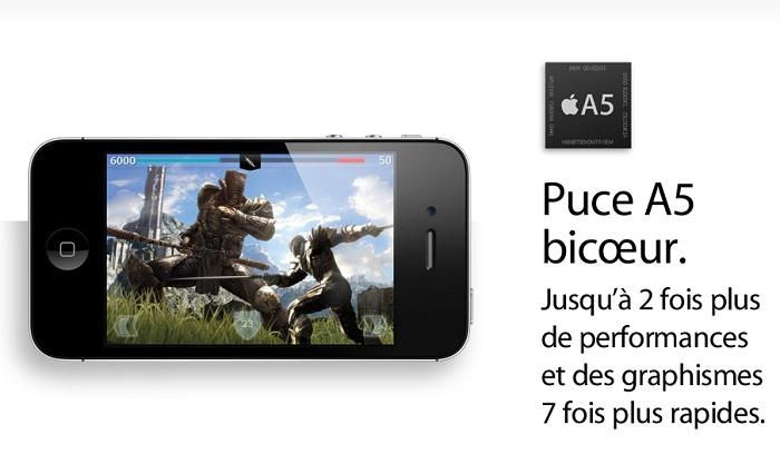 Une puce A5 dualcore dans l'iPhone 4S