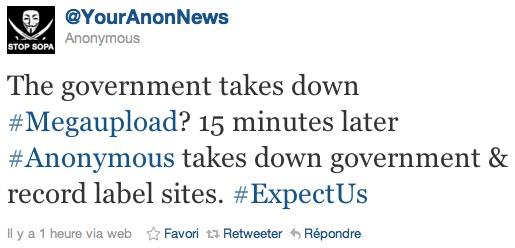 Les Anonymous contre attaquent 15 minutes après la fermeture de Megaupload
