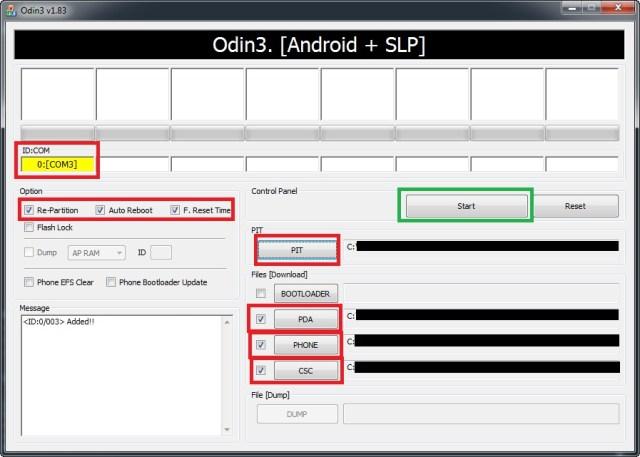 Paramétrage de l'outil ODIN avant de lancer l'installation