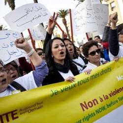 Moroccan women protesting