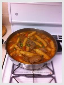 Pot of cassava dumpling stew