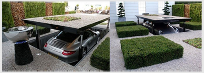 Paved ground lifts up to reveal garage