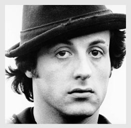 Black and white picture of Sylvester Stallone early 20's