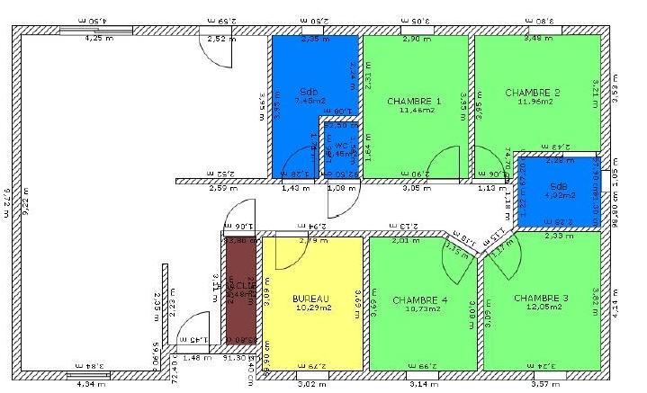 plan de maison 4 chambres plain pied