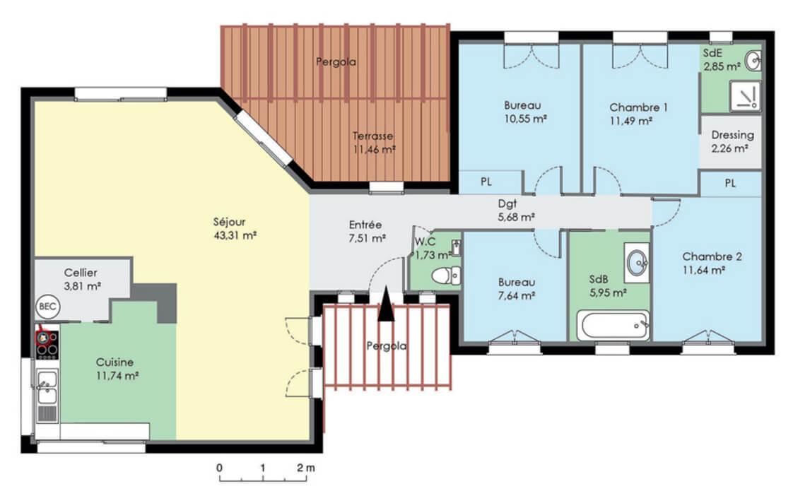 Plan De Maison Moderne plan de maison contemporaine de plain pied - plans & maisons
