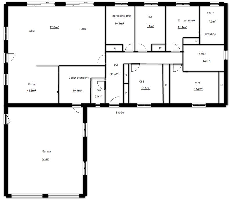 Plan de construction de maison en l plans maisons - Plan maison plain pied 1 chambre ...