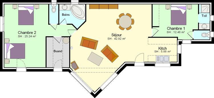 plan maison plain pied 2 chambres