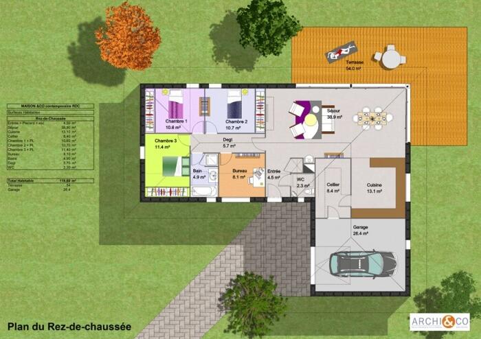 plan maison terrasse plain pied