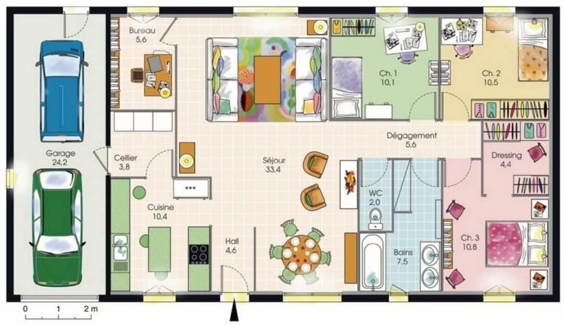 Plan maison toit terrasse plain-pied