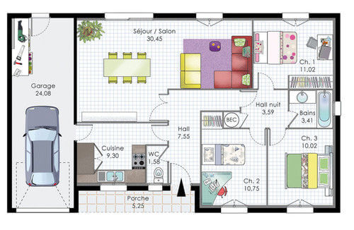 Plan de maison rectangle gratuit