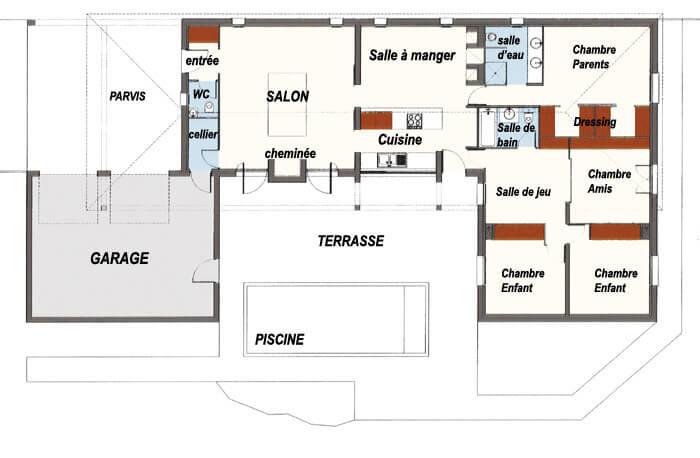 Plan maison en forme de U avec piscine