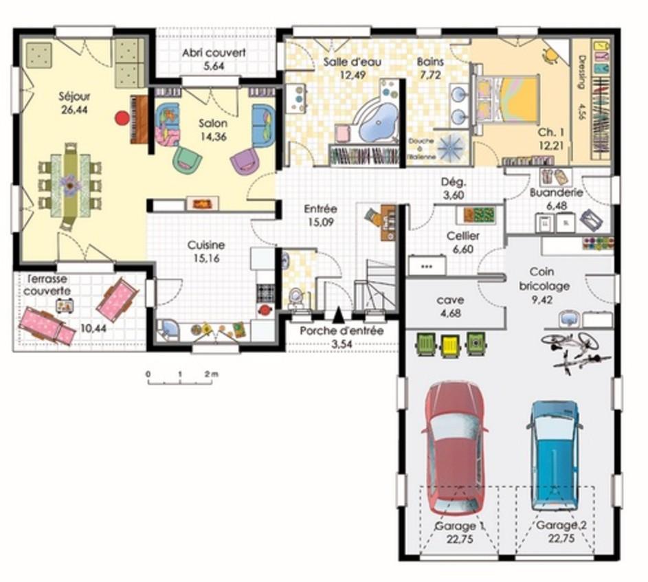 Plan maison en L avec garage pour 2 voitures