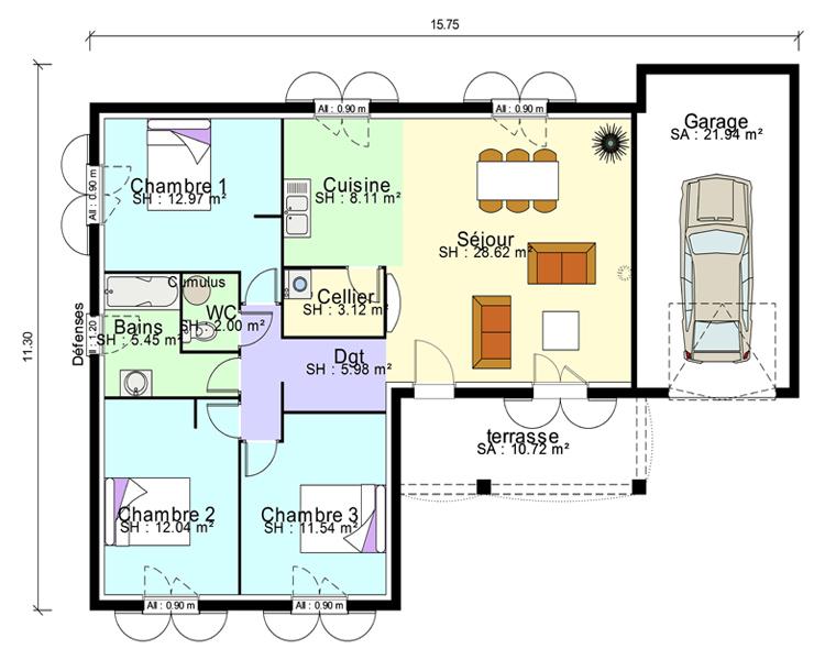 Plan maison contemporaine plain pied en L 3 chambres et garage