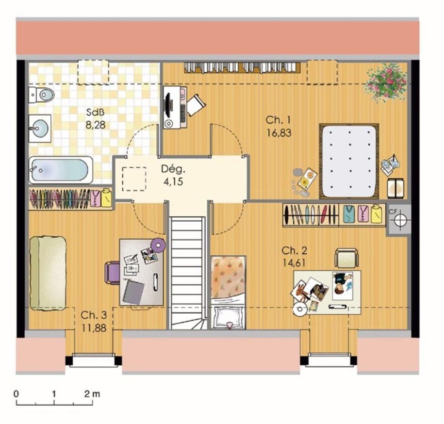 Maison BBC avec 3 chambres à l'étage