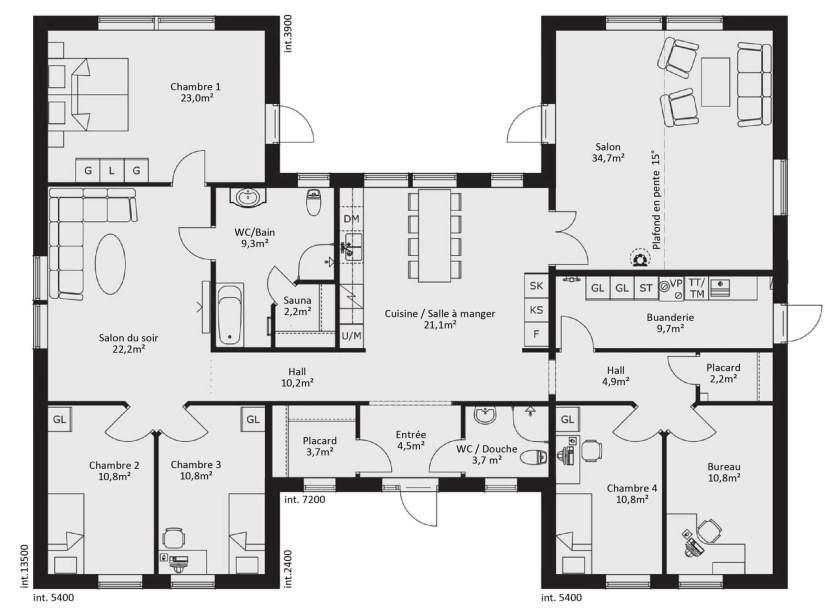 Maison de 7 pièces avec cuisine ouverte - surface habitable 194m²