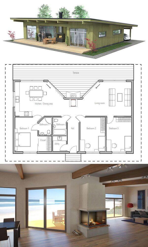 Maison en bois américaine avec cheminée centrale - Plans ...