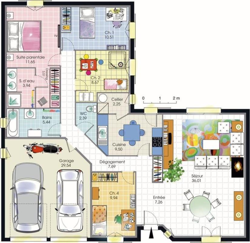 Plan maison plain pied 4 chambres double garage