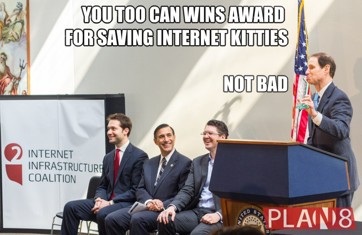 Senator Ron Wyden, Senator Jerry Moran, and Rep Darrell Issa win awards for supporting online ventures at Internet Advocacy Day on Capitol Hill.