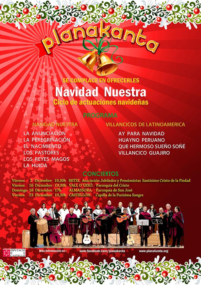 Cartel ciclo actuaciones navideñas 2016 de Planakata