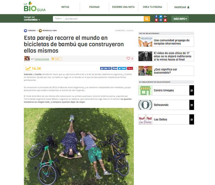 plan b viajero , pareja recorre el mundo en bicicletas de bambu , la bioguia