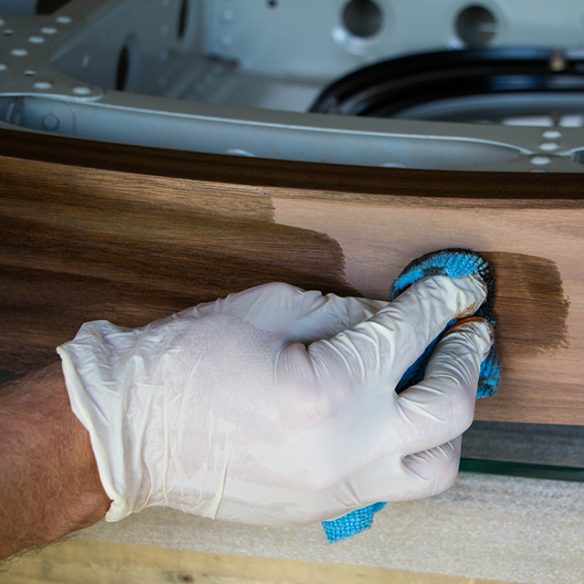 Wiping Wood Stain onto Black American Walnut Frame