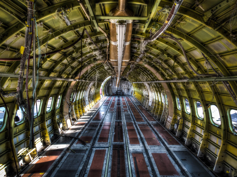 Interior of retired Boeing aircraft