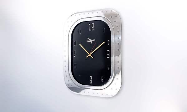 Boeing 747 Window Clock Aluminium Black