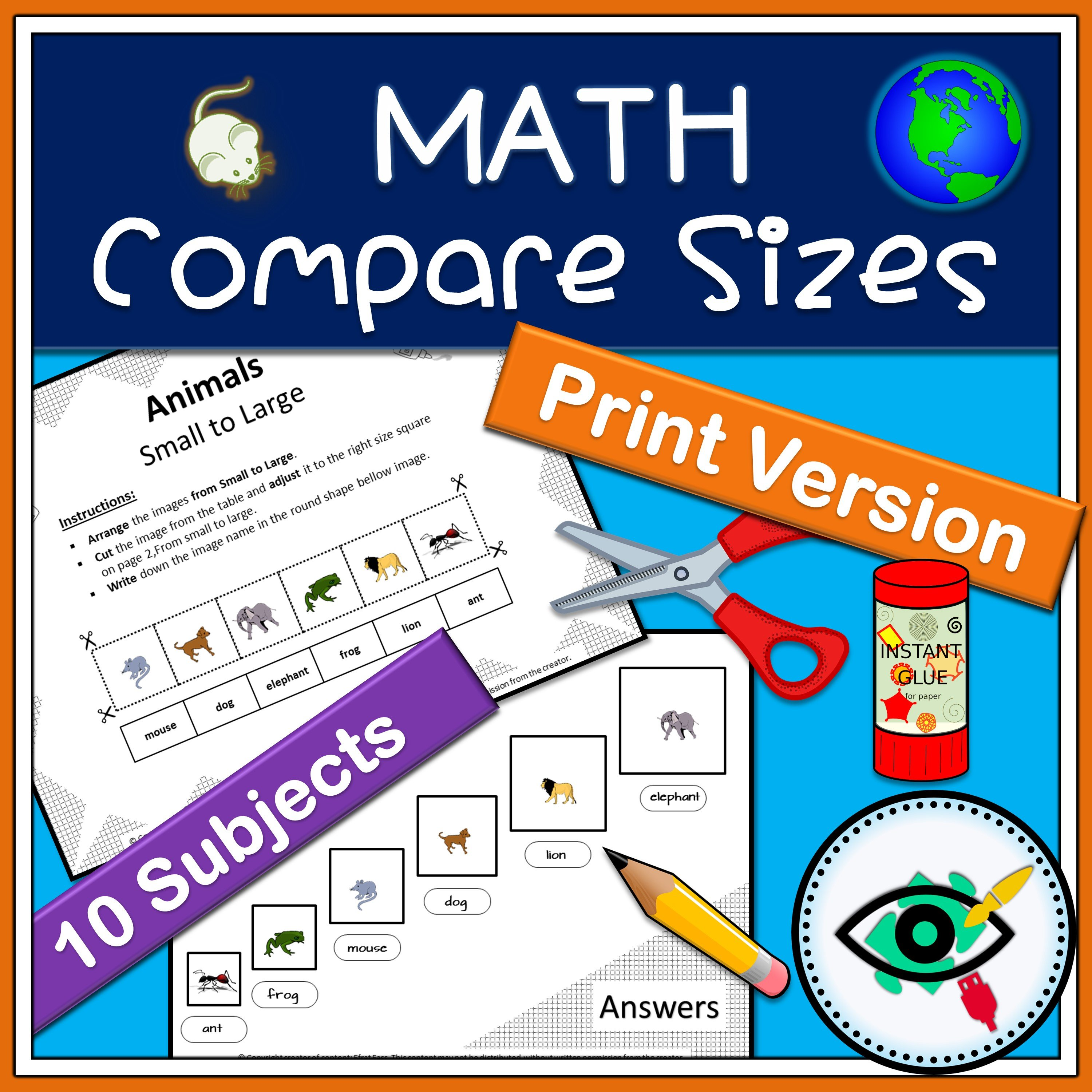 Printable Math Activity Compare Sizes