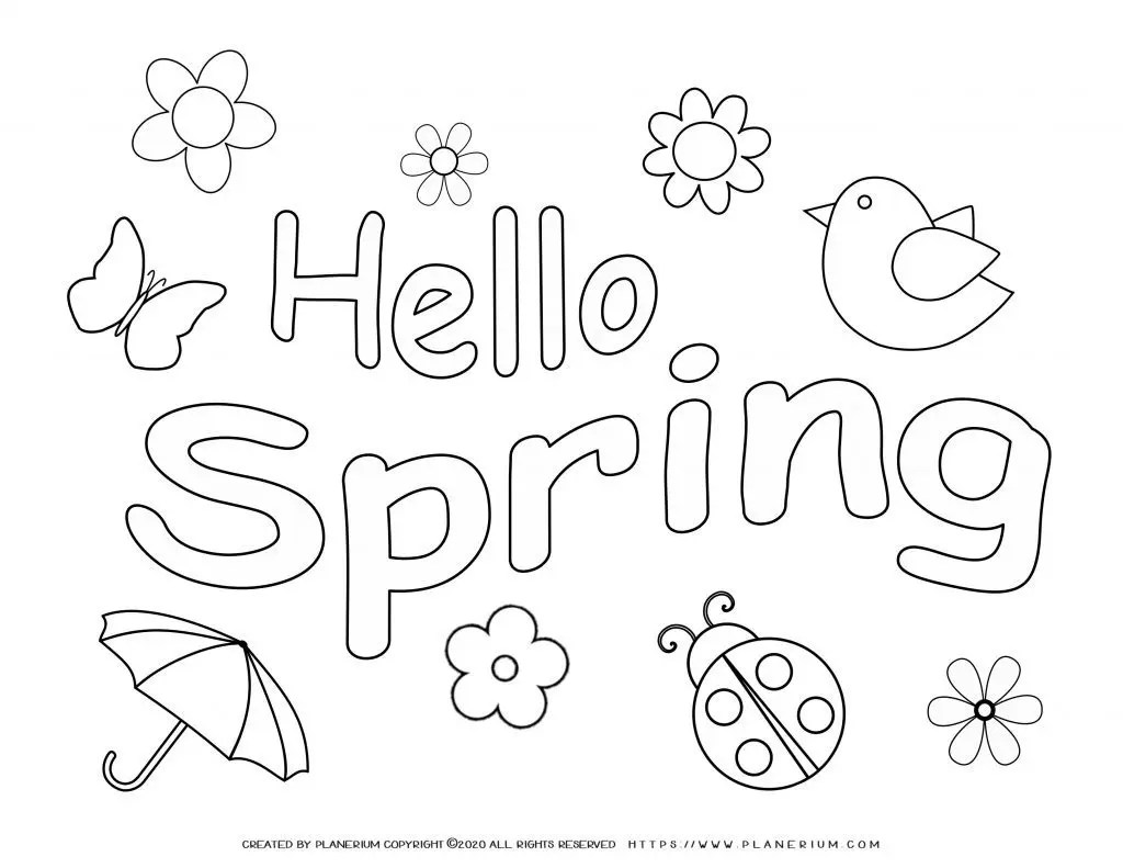 Spring Coloring Pages And Worksheets