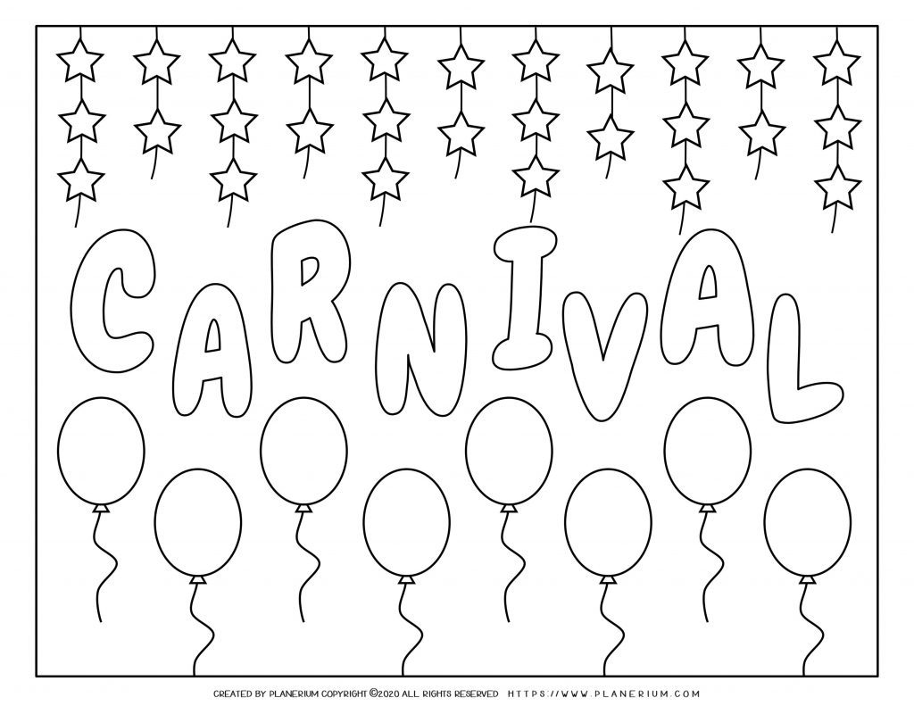 Carnival Coloring Pages And Worksheets Free Planerium
