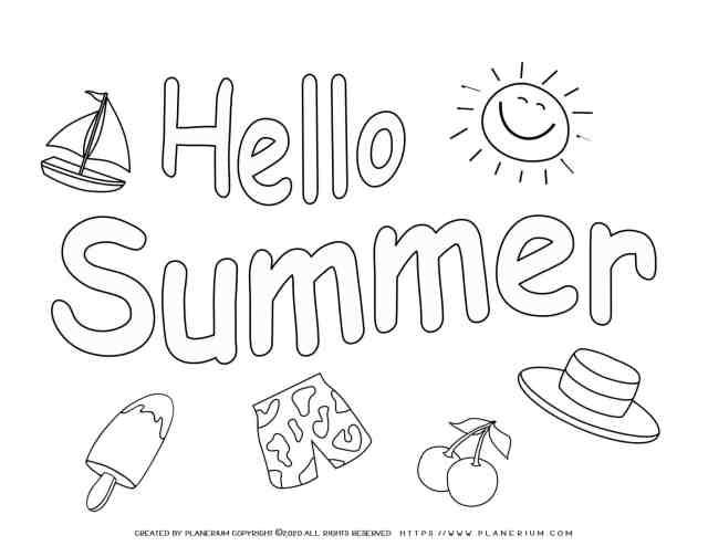Summer - Coloring Page - Hello Summer  Planerium