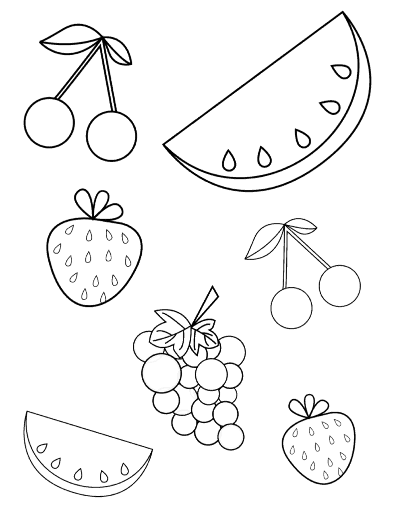FREE Summer Fruits Coloring Page PDF for Toddlers ... | fruits coloring pages for preschoolers
