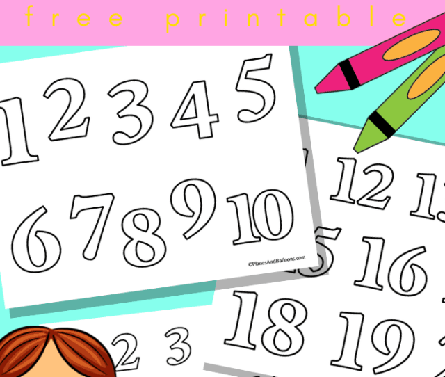 Numbers   Coloring Pages Planes Balloons Lets Make