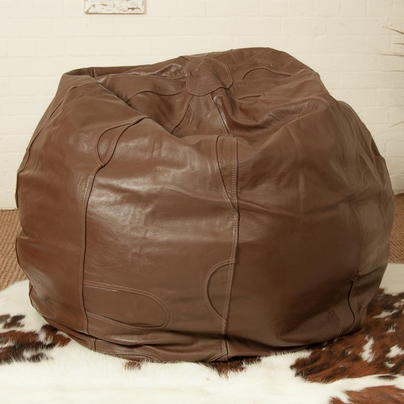 Duke Chocolate Thick Buffalo Leather Bean Bag Beanbag