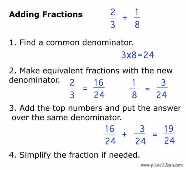 how to add fractions with conters