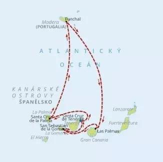 Mapa okružní plavby po Kanárských ostrovech