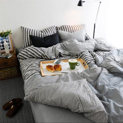 decorar una cama a rallas