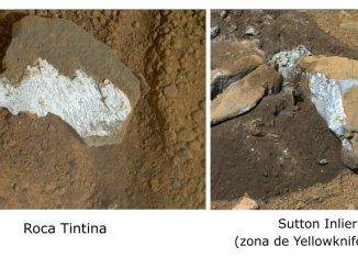 Rocas de la superficie marciana. A la izquierda Tintina, a la derecha Sutton Inlier