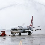 The new Qantas 737-800 is welcomed at Sydney Airport