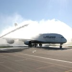 Fire engines meet Lufthansa Airbus A380 at Zurich Airport