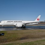 JAL 787 taxis at Paine Field, Everett for double delivery of Dreamliners by Boeing