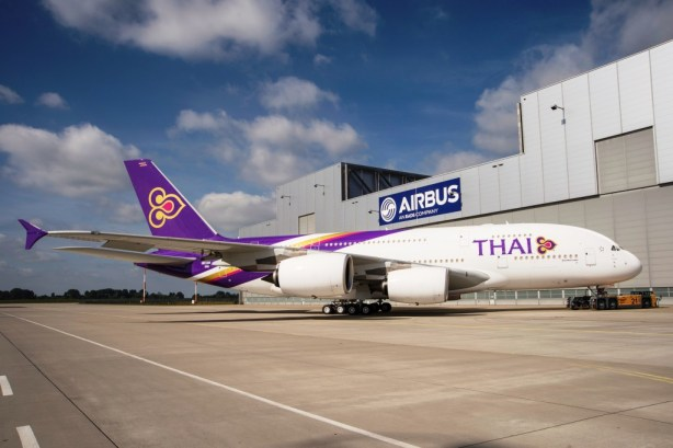 The first Thai Airways International Airbus A380 rolled out of the Airbus paint shop