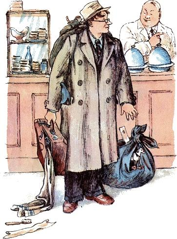 человек рассеянный Он отправился в буфет Покупать себе билет.