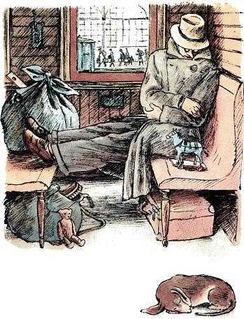 Вот какой рассеянный Сел в углу перед окном И заснул спокойным сном…
