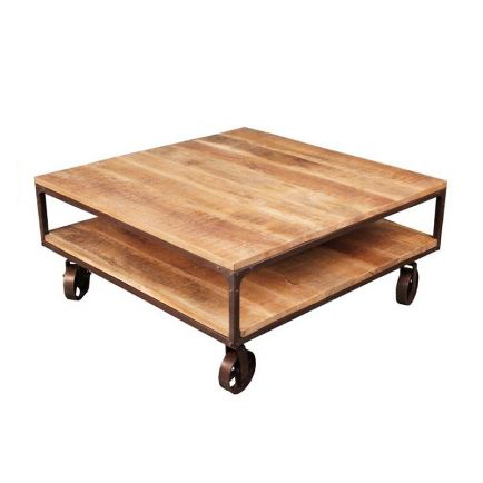 table basse roulettes manguier fabric