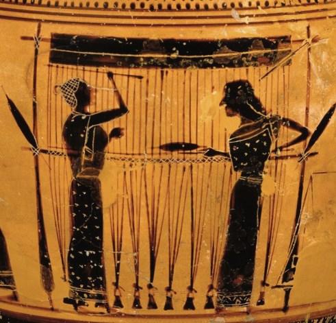 Tisserandes, considérées comme une illustration des Moires qui tissent le fil du destin, 550-530 avant notre ère sur un vase lécythe