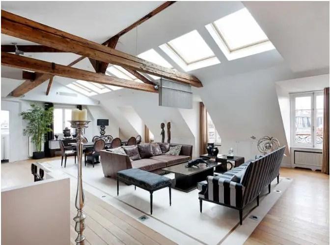un appartement sous les toits de paris planete deco a. Black Bedroom Furniture Sets. Home Design Ideas