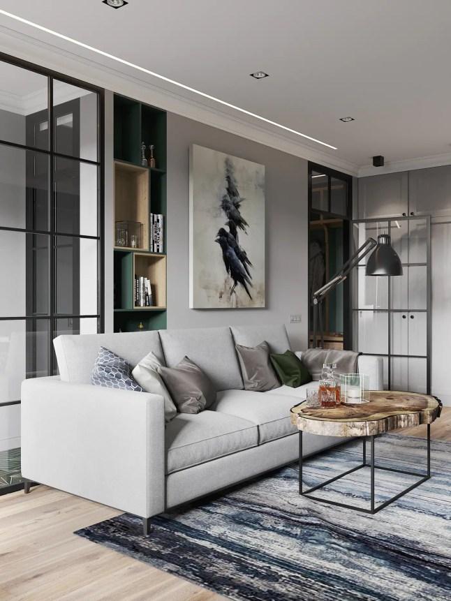 现代客厅灰色沙发搭配绿色